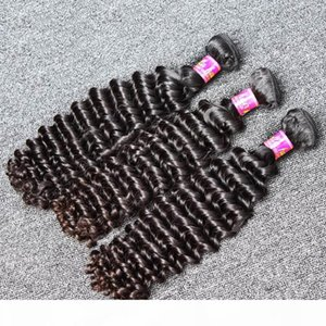 """8""""-30""""Peruvian Hair Unprocessed Natural Color Deep Wave Human Hair Extension 3pcs lot High Quality Hair Weft Free Shipping"""