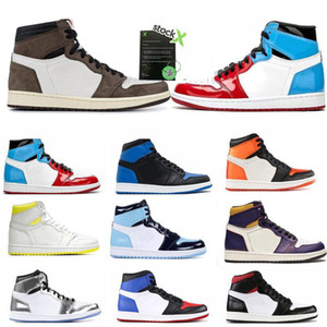 2021 Novo 1 alta og sapatos Travis Scotts Basquetebol Spiderman UNC 1s top 3 Mens Homage To Home Royal Blue Men Esporte Designer Sneakers Trainers