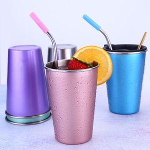 Из нержавеющей стали 500мл соломы Большой Чашку с крышкой Кружка кофе 5 цветов Пиво Чай Сок Молочный напиток массажер Открытый Отдых Путешествия DH1261-1 T03