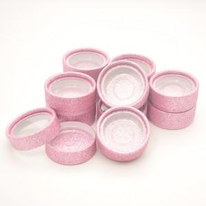 Großhandel runden falschen Wimpern Verpackungskarton Peitsche Boxen privat Verpackung benutzerdefinierte Logo-Label faux 3D Nerz Wimpern Streifen rosa leeren Kreis Fall