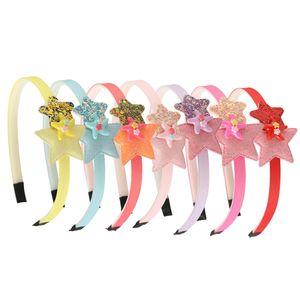 7pcs / Lot lentejuelas Estrellas Hairbands de dibujos animados del brillo de la estrella de la cinta Mini vendas de los accesorios del pelo de las niñas