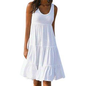 Yaz kadın Elbise Tatil Katı Kolsuz Parti Plaj Beyaz Elbise kadınsı Dantel Gevşek Katı Gündelik Elbise vestidos