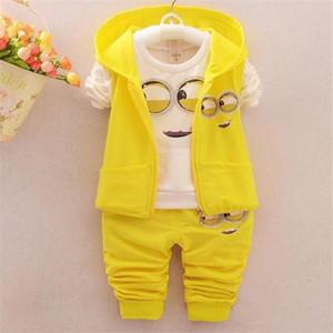 Spring Autumn Children Clothing Sets Baby Girls Boys Suits Cute Cartoon Coats Vest Pants 3 Pcs Casual Suits Kids Infant Newborn Clothes