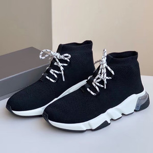 Luxus Mensentwerfer Socken Schuhe High Top Sneaker Sneaker Stretch Strukturierter KNIT Schwarz Freizeitschuh für Frauen der Männer Socke Stiefel