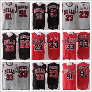رجل شيكاغوالثيرانإرتداد23ميخائيلMJ الأحمر دينيس رودمان 91 سكوتي بالقميص 33 السراويل السوداء بيبين كرة السلة الأبيض