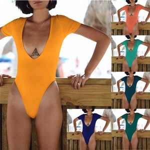 Womens Sexy One Piece Swimwears Designer Sommer U-Ausschnitt Solid Color Blackless Overall Frauen Strand Schlank Swimklagen