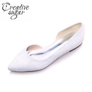 Creativesugar élégant éclat 3D bout pointu blanc ivoire D'orsay femme appartements chaussures de mariée mariage décontracté partie slip de bal à plat