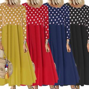 Осень женщины макси платье старинные горошек оборками дамы элегантные длинные платья девушки Высокая Талия длинное платье Vestidos женский