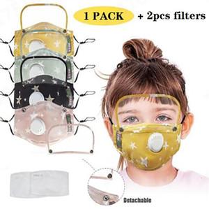 2 in 1 Children face mask eye shield breath valve and PM2.5 filters mask washable reusable kids cotton masks protective designer masks