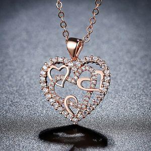 Рождественский вырез Горячее сердце обмотки сердца ожерелье ювелирные изделия японский и корейский стиль микро проложить Танабата смарт сердцебиение ожерелье крест-борд
