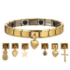 El nuevo diseño de acero inoxidable pulsera magnética para las mujeres de los hombres del color oro plata Candado corazón de la cruz Chrams Salud pulsera del estiramiento de germanio