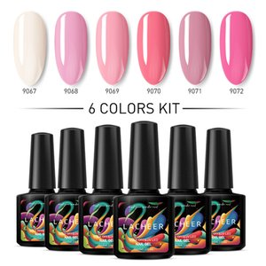 Lacheer 6Pcs/Lot Pink Color Nail Art Guel Polish Set Soak Off Nail Art Esmel Enamel Long Lasting Led Gel Polish colorido