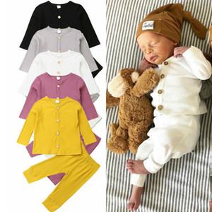 Primavera 2020Baby Primavera Autunno Abbigliamento Neonata appena nata Boy lavorato a maglia manica lunga + pantaloni delle ghette 2 pezzi Outfits Solid costine Abbigliamento