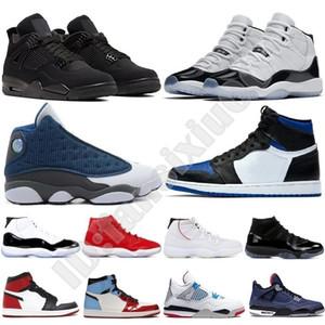 Nike Air Jordan Retro Classico 1s 11 13 11s 13s cucita punta reale top 3 tabellone in frantumi 12 5 4 gioco di Chicago reali Uomini Donne Scarpe da basket