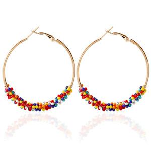 Fashion Hoop Earrings - Pendientes de lujo para mujer Pendiente de acrílico Pendientes de acrílico con cuentas de aleación de círculo Pendientes bohemios