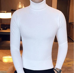 2019 Kış Yüksek Boyun Kalın Sıcak Triko Erkekler Turtleneck Marka Erkek Kazak Slim Fit Kazak Erkekler Triko Erkek Çift yaka