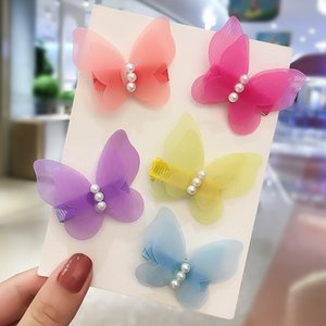 Princess Hair Clips for Girls Chiffon Pearl Butterfly Hairpins Children Kids Barrettes Sweet Headwear Fashion Hair Accessories