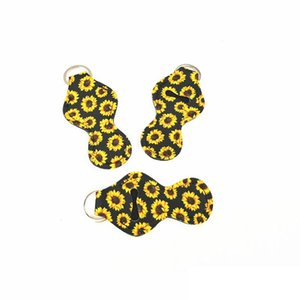 Chapstick Holder Neoprene Keychains Sunflower Printed Key Chain Wrap Lipstick Cover Party Favor Gifts for Lady Girls