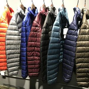 [Aiweier] de los hombres por la chaqueta del tamaño grande de abrigos de invierno de la cremallera sólido ultra fina luz macho collar del soporte de pato blanco abajo chaqueta para los hombres