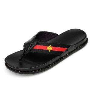 WEH men luxury shoes Genuine Leather Brand Slippers Men Summer Beach Sandals Designer Flip Flops Breathable Non-slip Slides Y200706