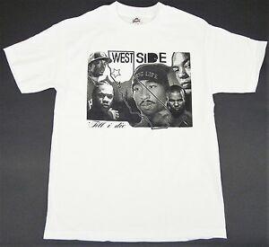 WESTSIDE Till I Die maglietta West Coast CALI Rap Hip hop Tee adulti S XL Bianco Nuovo