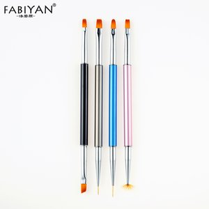 4Pcs Gradient Fan Flat Round Line Stripe Head Pen Nail Art Liner Drawing Painting Flower Brush Manicure UV Gel Polish Tool 2 Way