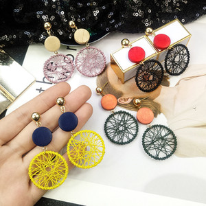 2019 i più nuovi di modo semplice Big rotonda ciondola gli orecchini per le donne stile coreano Hollow Mesh ciondola orecchini di goccia Dichiarazione gioielli