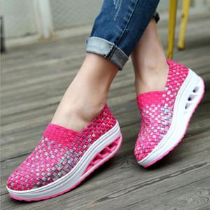 Горячая распродажа-BJYL женская обувь сетка ткань обувь дышащий наклон с высокой платформой женская обувь летние женщины
