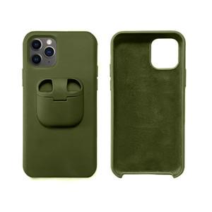 Pour iPhone 11 Pro Max XS Max XR XS X 8 7 Plus 2 en 1 silicone liquide Téléphone cas pour AirPod Cover