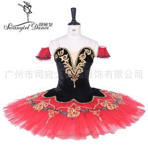 noir rouge don quichotte don quixote costumes femmes paquita ballet professionnel scène tutu costume pancake tutu BT9292