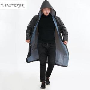 WINSTBROK Waterproof Rain Coat Men Women Impermeable Raincoat Hooded Women Long Rainwear Men Poncho Raincoats Rain Coat