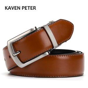 Men's Genuine Leather Belt Reversible For Jeans Male Rotated Buckle Dress Belts Designer Cowskin Leather Belts For Men Black Y200520