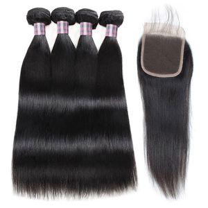 Virgen recta Extensiones de cabello 4Bundles con 4x4 cordón de mechones de cabello humano con Cierre Cierre calidad barato buena armadura del pelo humano