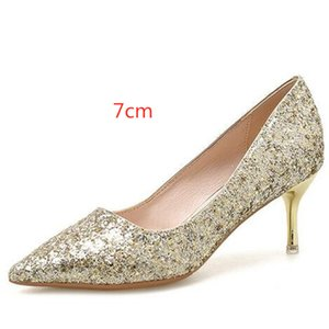 Best Sale Gold Silver Sequins Pointed Fine High Heel Shoes Woman Wedding Shoes 2020 Spring Dress Shoes Women Pumps 5   7   9 Cm