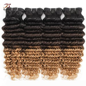 1B 4 27 Ombre Blonde Deep Wave Human Hair Bundles Three Tone Color 3 4 Pieces 12-24 inch Brazilian Remy Human Hair Extensions