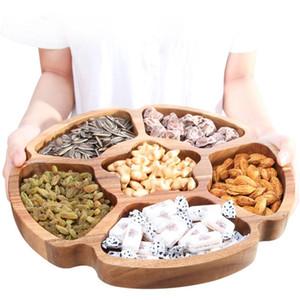 Nueva sólido de madera natural Snack Food Storage bandeja Acacia Textura cocina sala Tuerca caramelo Organizada almacenamiento Bandeja 33cm / 6Grid