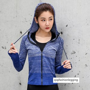 Female Sports Coat Slim Fit Zipper Lian Cap Top Outdoor Running Yoga Fitness Clothing