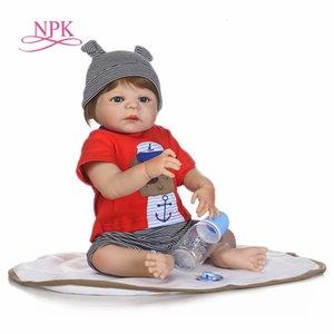 NPK Reborn erkek bebek bebek gerçek CJ191212 BONECAS çocuklar hediye için yeni doğan bebeklerin oyuncakları uyuyan tam silikon vücut yeniden doğmuş bebekler 22inch