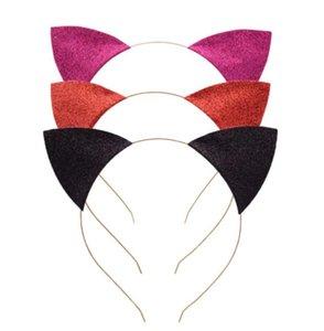 orelhas de gato Headband infantil Glitter gato headbands Cabelo Sticks Metal Head Hoop Fechos Partido Decoração Props Cabelo Acessórios GGA3346