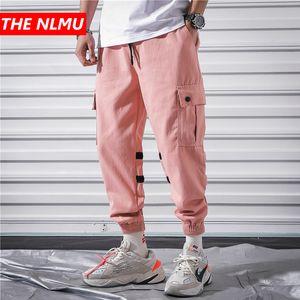 Hip Hop Joggers Pants Men Casual Multi-pocke Pink Cargo Pants Mens Streetwear Sweatpants Trousers Harajuku 2020 WG297