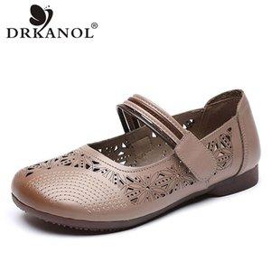 DRKANOL 2020 Chaussures d'été Femmes Mode Mocassins en cuir véritable chaussures plates femmes style ethnique peu profond Respirant Casual