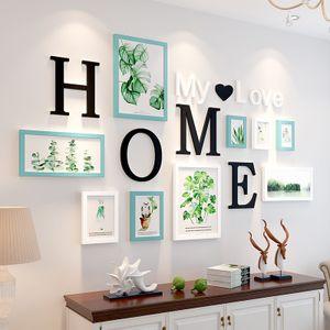 9pcs nórdicos blanco y negro combinación familia marco de madera marco de fotos retro fijó la decoración del hogar cuadrada