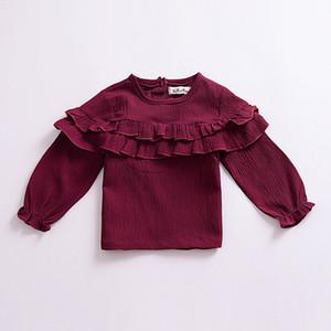 A camisola dos miúdos A roupa do bebê 2019 Meninos Meninas Pullover Hoody cor sólida Falbala manga comprida T-shirt das crianças das crianças Roupa Nova Q452