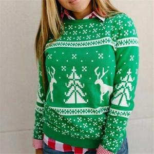 Caliente mujeres de la manga del cuello redondo de Navidad de impresión con capucha largo otoño invierno de Navidad Jumper Sudadera Pullover 2020 Tops Casual