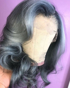 Lace Capelli grigio scuro umano anteriore parrucche donne nero ondulato 130% Densità Silver Grey 10A Virgin di Remy pizzo frontale dei capelli parrucca Pluck