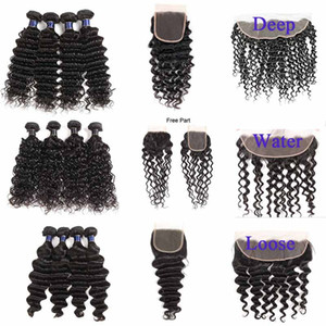 Brazilian Virgin Hair Wefts With 4x4 Lace Closure Deep Water Loose Wave Cheap Brazilian Remy Virgin Hair Bundles With Lace Frontal Closure