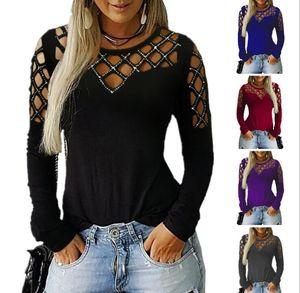 Женская футболка Роскошная Одежда Pure Color манжета плед Design Для женщин дизайнер футболки с длинными рукавами Scoop шеи