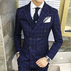 Latest Designs Men 3 Piece Plaid Suit Men Plus Size Korean Dress Slim Fit Skinny Prom Wedding Double-breasted Suits for