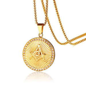 45.5MM Stainless Steel Zircon Freemasonic Circular pendant for Men inlay shine zirconia Freemasonic pendant boy jewelry gift
