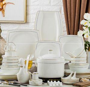60 style chinois vaisselle set de vaisselle de porcelaine d'os mis en simplicité d'or trace de jade incrusté d'or heureux élément de vie
